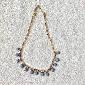 Jewelry - Gold statement necklace, baby blue and rhinestones